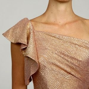 Adrianna Papell Dresses - Adrianna Papell One Shoulder Gold Ruffle Dress
